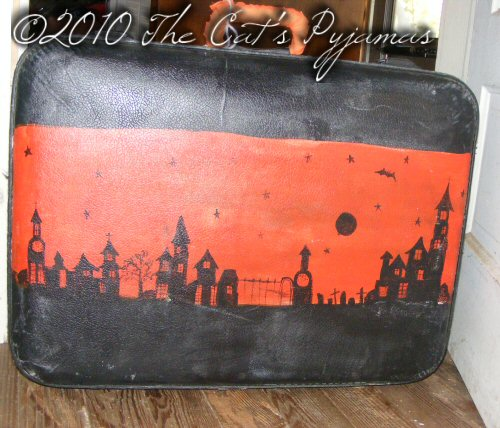 Hand-painted Halloween suitcase