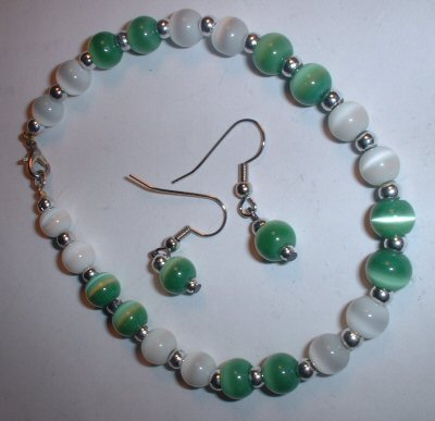 Green & white bracelet & earring set