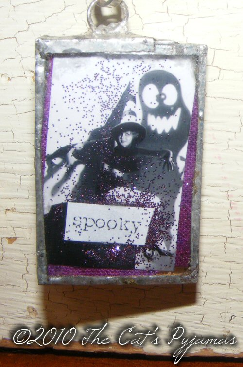 Spooky Witch pendant with purple glitter