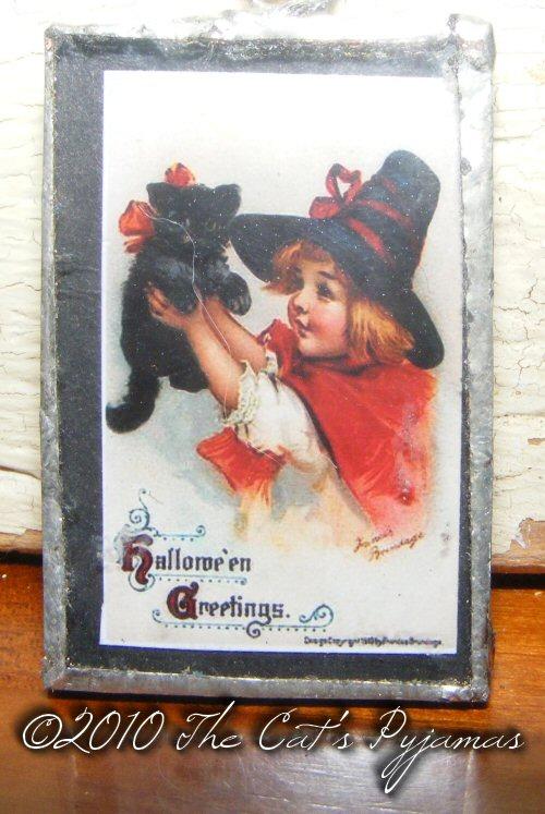 Little Witch & black kitten pendant