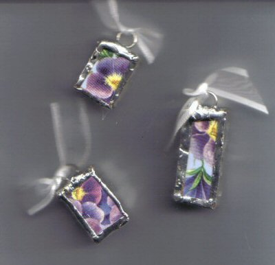 Chintz pendants Blue background with pansies