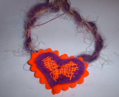 Funky Purple & Orange Heart Necklace