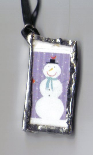 Purple snowman Necklace with polka dot ribbon