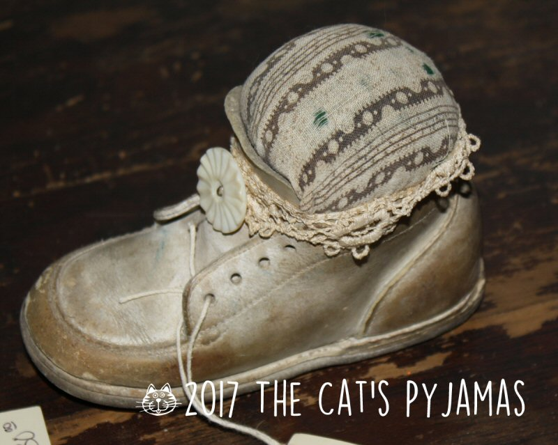 Old baby shoe Pincushions