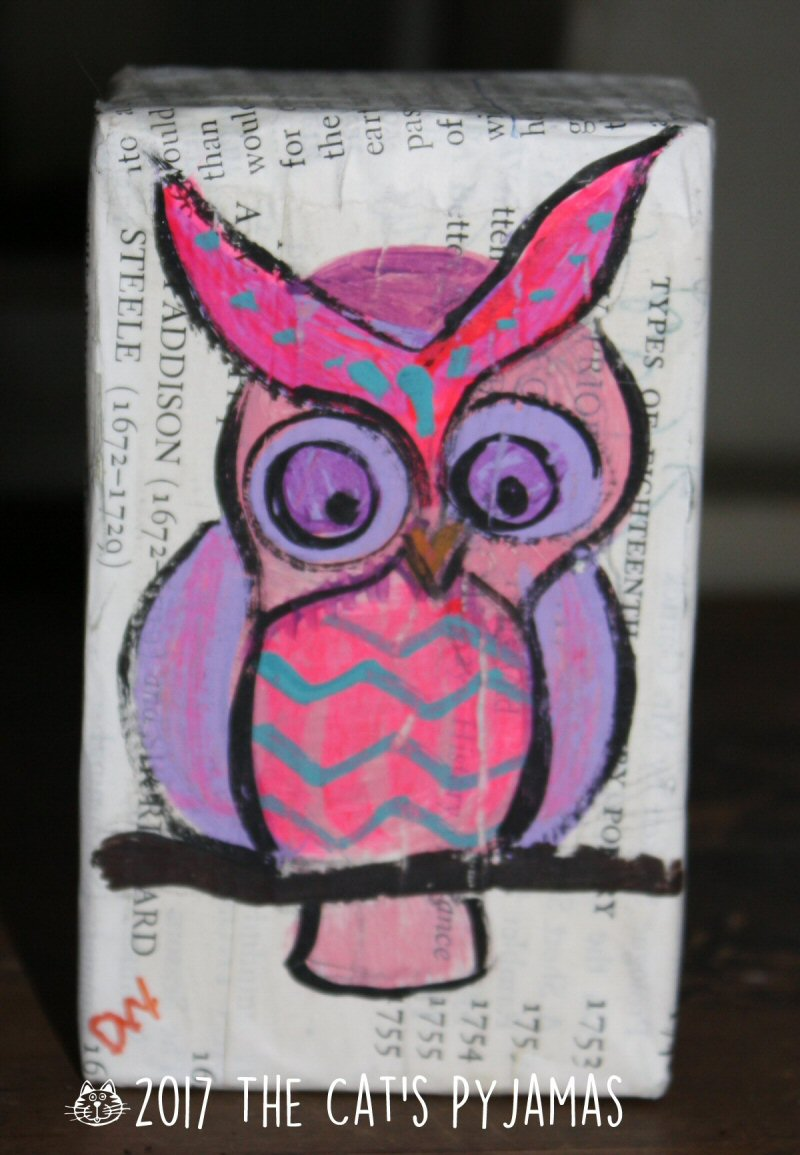 Owl on recycled box & newsprint