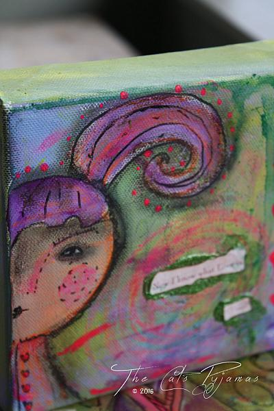 Whimsical Girl with purple hair painting