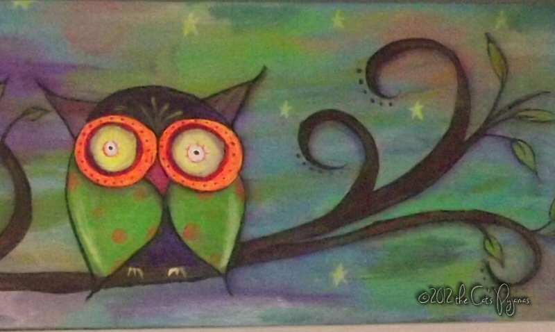 Neon Owl Family painting