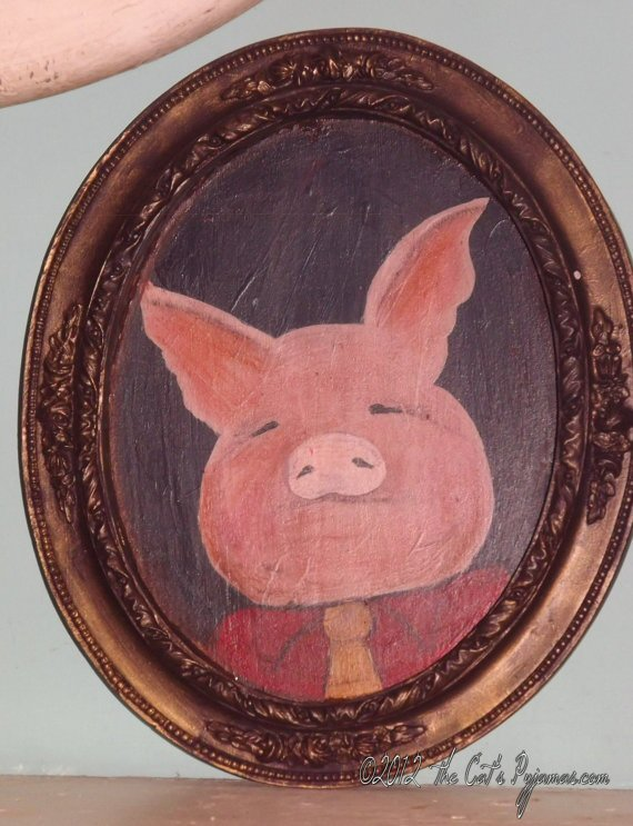 Three Little Pigs Folk Art Fairytale Portrait in oval Frame OOAK Pig in neck tie