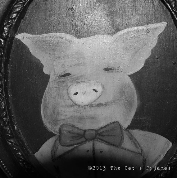 Three Little Pigs Folk Art Fairytale Portrait in oval Frame OOAK Pig in Bowtie