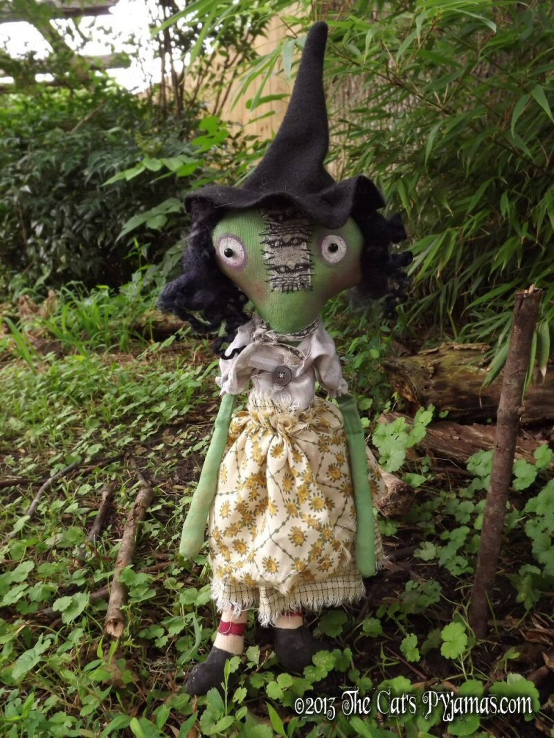 Maude-witch, doll, primitive, folk art, halloween, coven, gathering, wicca, soft sculpture