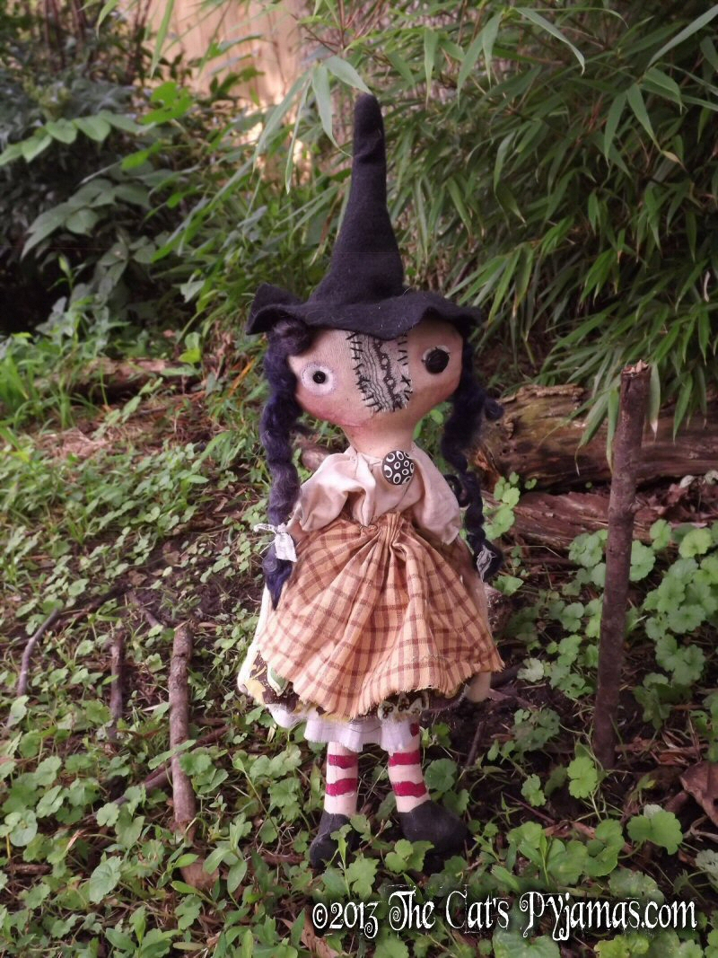 Glenda-witch, doll, primitive, folk art, halloween, coven, gathering, wicca, soft sculpture