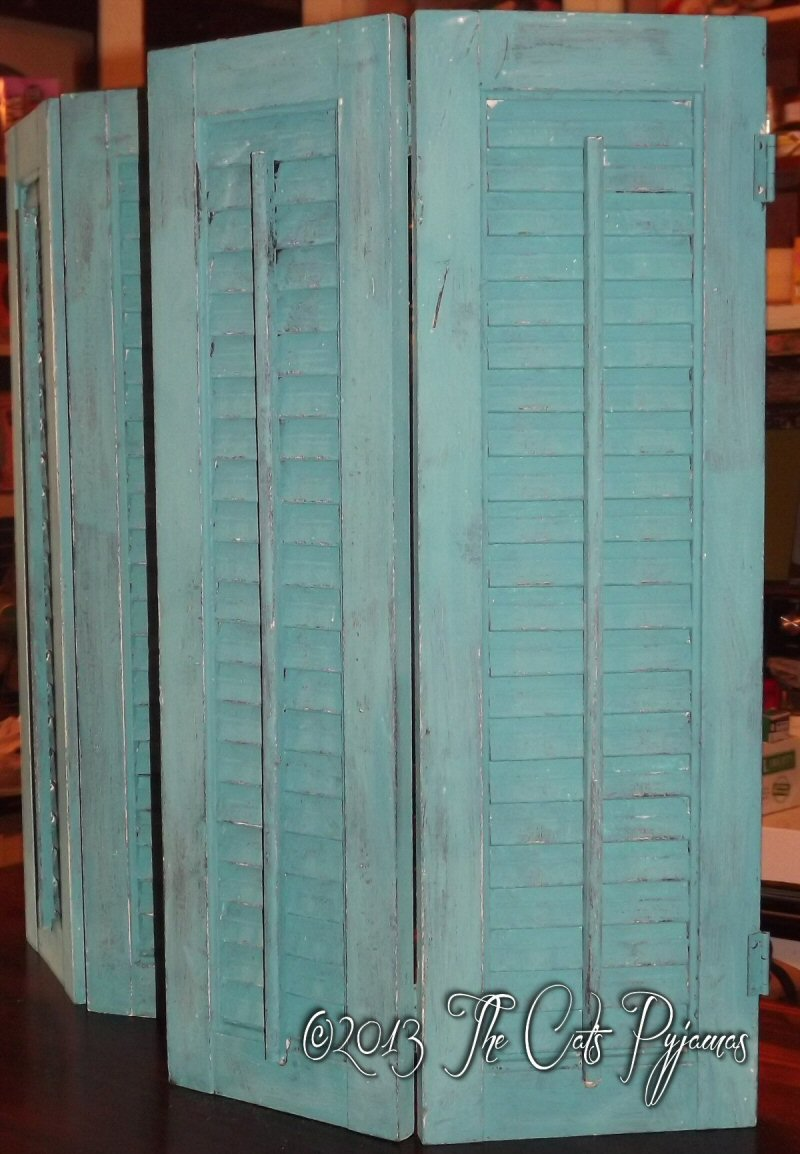 Hand-Painted Shabby Teal Shutters