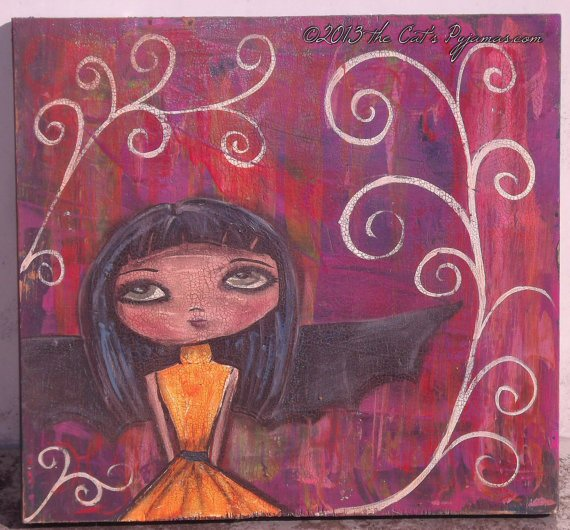 Halloween folk art Bat Girl Painting Acrylic & Oil Pastels Original