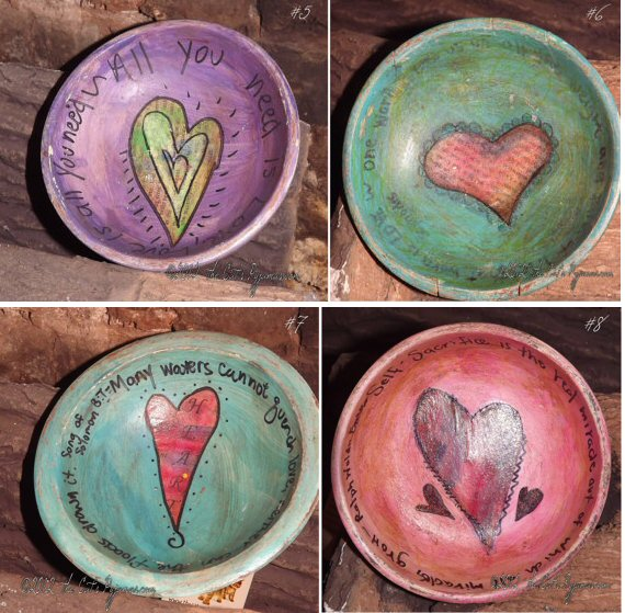 Hand-painted Vintage Wooden folk art Whimsical Bowls with Hearts for Valentines