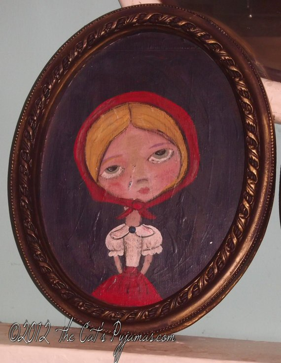 Hansel & Gretel Folk Art Gretel Fairytale Portrait in oval Frame OOAK