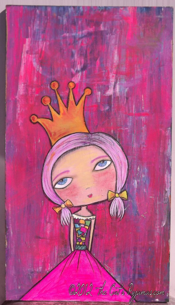Huge Fairy Princess Painting Bright Neon colors Girly Folk Pop aRt piece-Huge Fairy Princess Painting Bright Neon colors Girly Folk Pop aRt piece