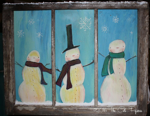 Snowman painted window