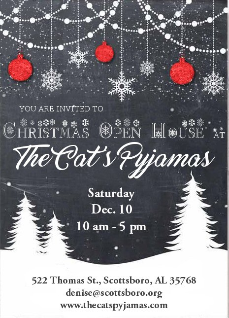 The Cat's Pyjamas Open House Dec. 10, 2016 from 10 am to 4 pm