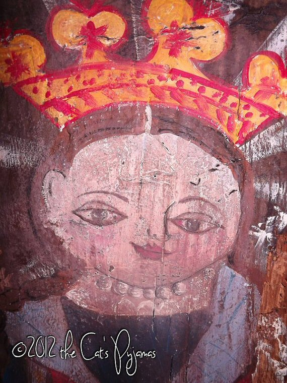 .Mexican Religious Folk Art inspired painting primitive angel on old wood Original OOAK Salvaged Barnwood