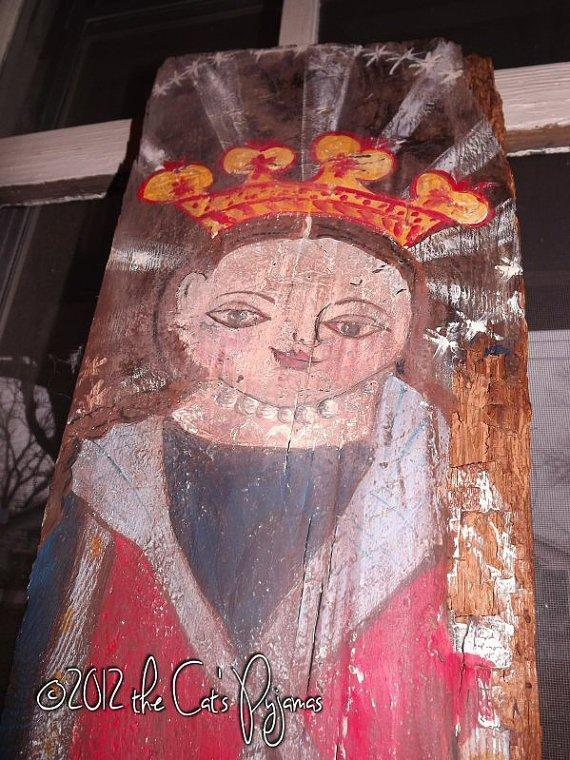 .Mexican Religious Folk Art inspired painting primitive angel on old wood Original OOAK Salvaged Barnwood