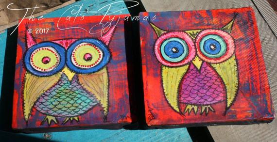 Neon Owl Paintings Set of 2