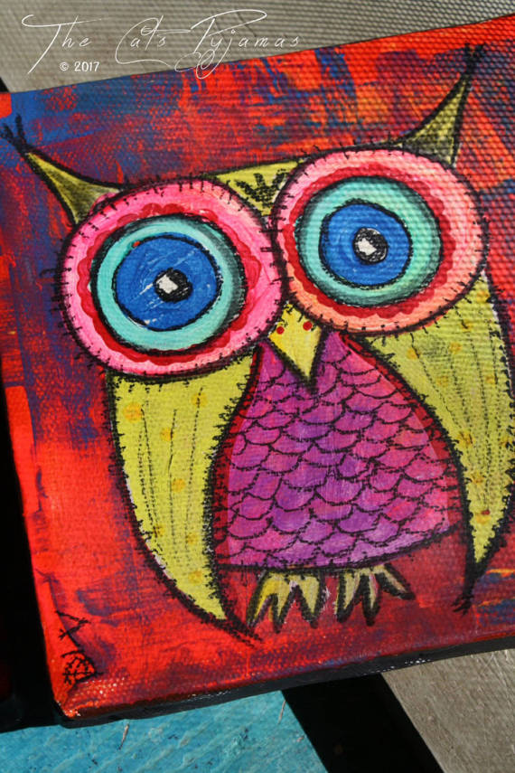 Neon Owl Paintings Set of 2