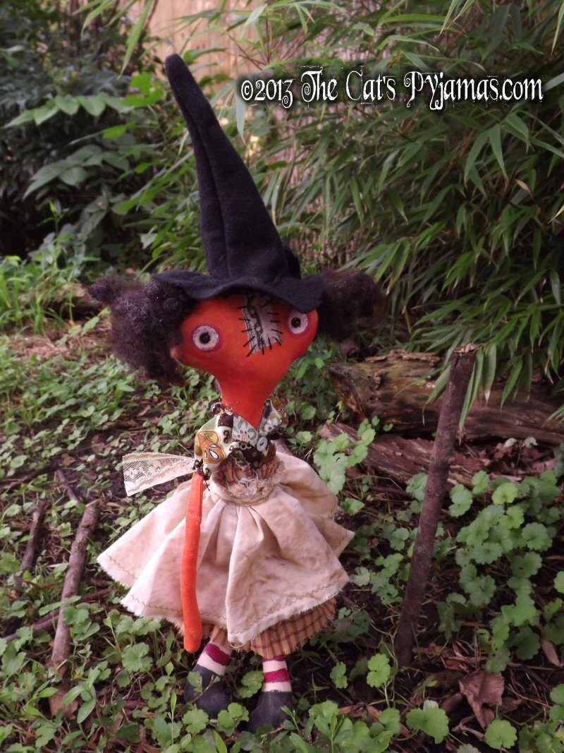 Salem-witch, doll, primitive, folk art, halloween, coven, gathering, wicca, soft sculpture
