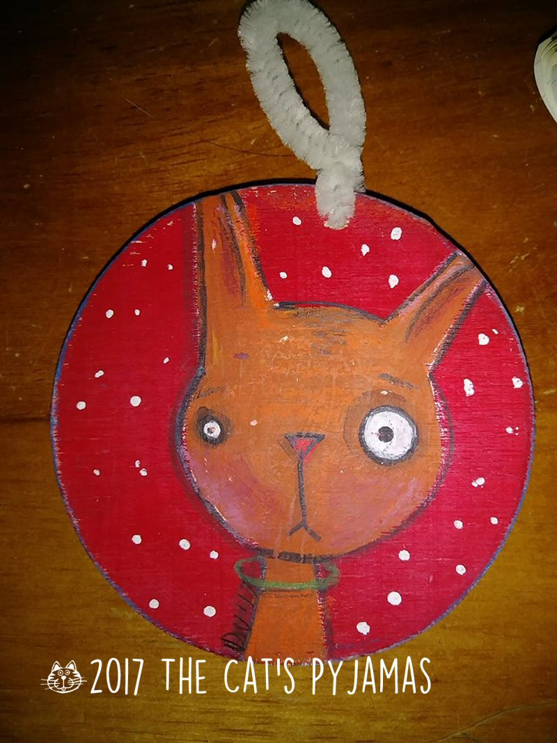 Orange kitty ornament