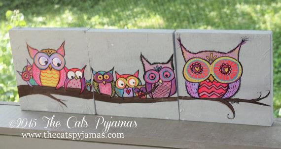 Family of Owls Painting Bright & Funky 3 pieces Original Artwork Nursery Decor