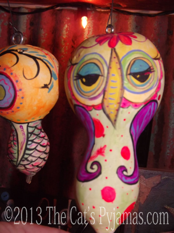 Painted Owl Gourd 11