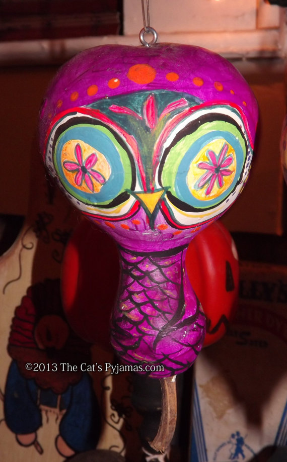 Painted Owl Gourd 13