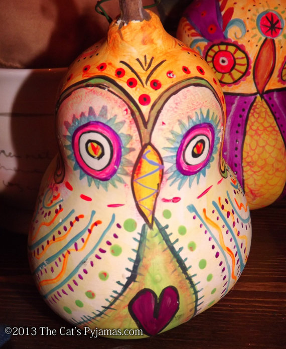 Painted Owl Gourd #2