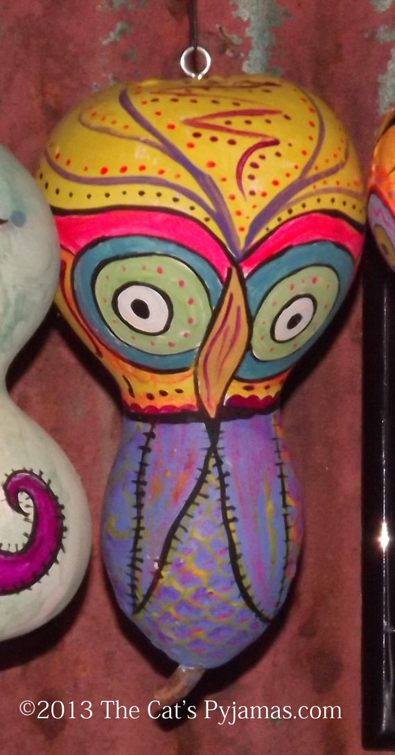 Painted Owl Gourd #3