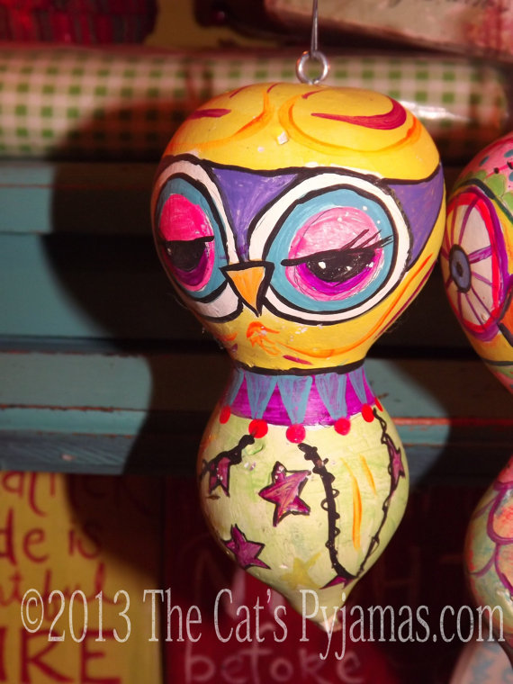 Painted Owl Gourd #5