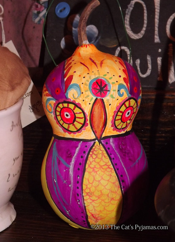 Painted Owl Gourd #6