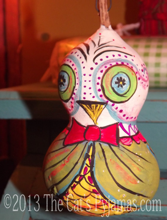 Painted Owl Gourd #7
