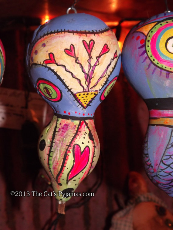 Painted Owl Gourd #8