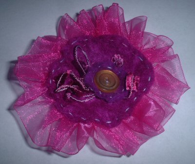 Hot Pink Flower Pin