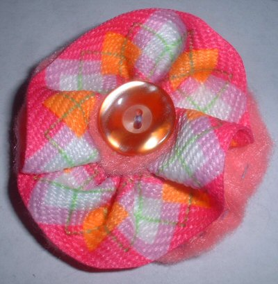 Plaid Flower Pin