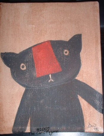 Primitive Black Cat Painting