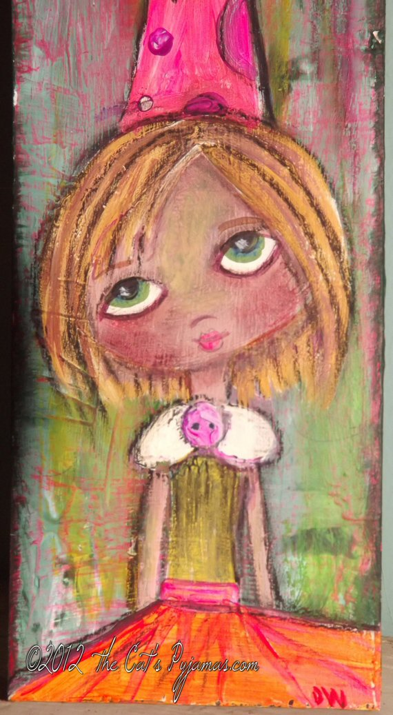 .Sad Eyes Birthday Girl Folk Art Neon Colors Acrylic & Oil Pastels Original