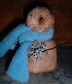 Folk Art Snowman in Blue Scarf