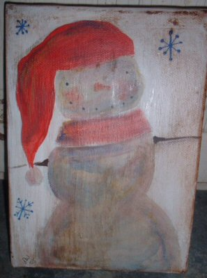 Folk Art Snowman Painting