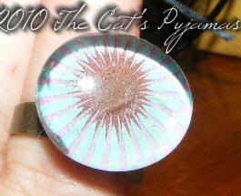 Teal & Brown flower ring