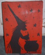 Witch Silhouette Painting