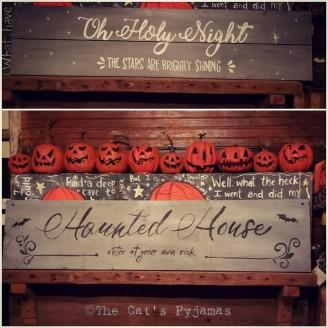 Two-sided Sign, Halloween & Christmas