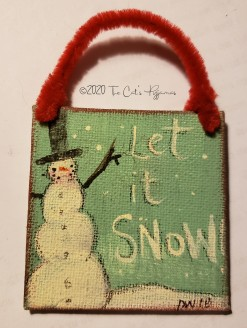 Let It Snow Ornament (teal & red)