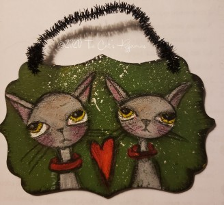 Two Kitties ornament