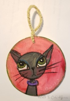 Pretty in Pink Cat ornament