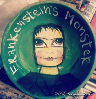 Frankenstein's Monster painted bowl
